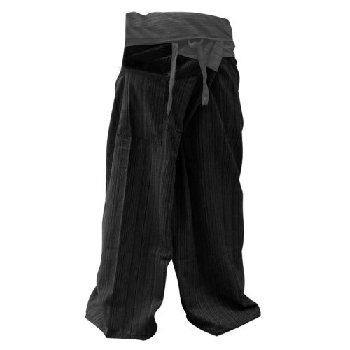 2 Tone Thai Fisherman Pants Yoga Trousers Free Size Cotton Gray Black by THAILAND PRODUCT