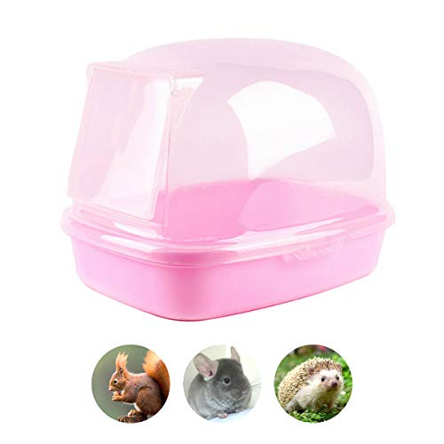Chinchilla Dry Bath, Hedgehog Sand Room Sauna Toilet Small Animal Bath House, Degus Squirrel Dust Bath 9.4″x6.7″x6.7″