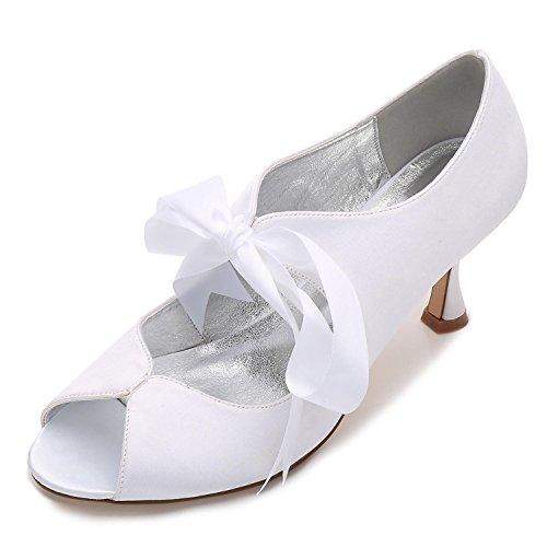 Para Peep 22 Satén Mujer Y Cinta Zapatos Tacón Toe White yc Encaje De L Con P17061 Novia Alto Verano 5vHIwxqR0I