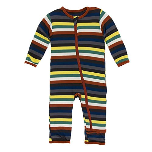 Kickee Pants Little Boys Print Coverall with Zipper - Dark London Stripe, 6-9 ()