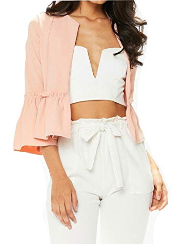 GH Women Solid Layered Ruffle Flare Sleeve Suit Blazer Jacket Crew Neck Shrugs Bolero Cardigan Pink M