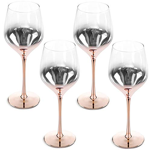 MyGift 19 oz Electroplated Ombre Rose Gold Crystal Stemware Wine Glasses, Set of 4
