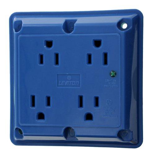 Leviton 5480-BU 15-Amp 125-Volt 4-In-1 Receptacle, Blue