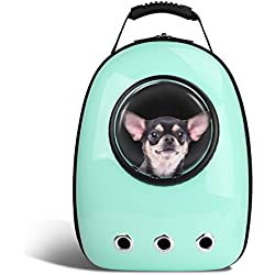 Blitzwolf Anzone Pet Portable Carrier Space Capsule Backpack, Pet Bubble Traveler Knapsack Multiple Air Vents Waterproof Lightweight Handbag for Cats Small Dogs & Petite Animals-Cyan,30L