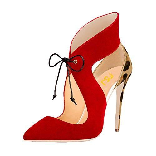 (FSJ Women Stylish High Heel Pumps Lace Up Sandals Cut Out Party Evening Dress Shoes Size 10 Leopard-Print)