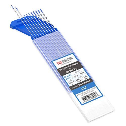 "TIG Welding Tungsten Electrode 2% Lanthanated 5pk .040"" & 5pk 1/16"" by 7"" Assorted-size (Blue, EWLa-2) YESWELDER"