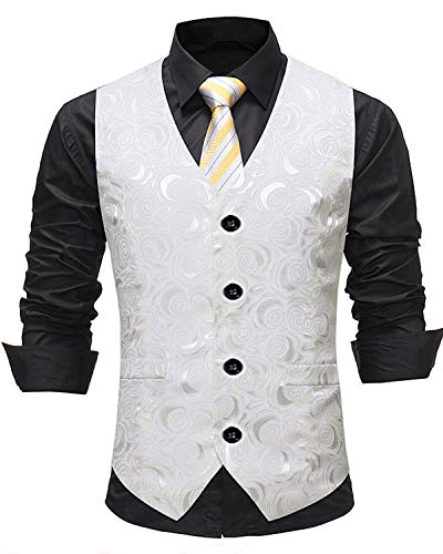 YBang Men's Vintage Waistcoat Jacquard Pattern Regular Fit Wedding Vest WD001 ()