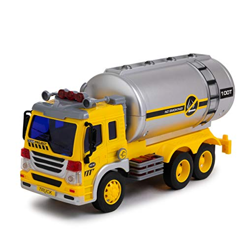 Tanker Truck - Toy To Enjoy Oil Tanker Truck Toy with Light & Sound - Friction Powered Wheels & Realistic Detailing - Heavy Duty Plastic Vehicle Toy for Kids & Children