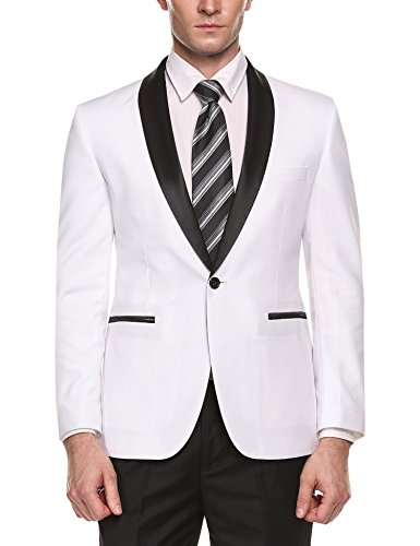 COOFANDY Men's Slim Fit Stylish Casual One-Button Suit Coat Jacket Business Blazers (White Blazer Suit For Men)