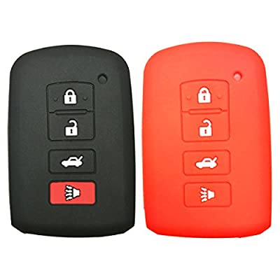 2Pcs Coolbestda Rubber 4buttons Key Fob Protector Keyless Entry Holder Cover Skin Jacket for 2016 2015 2014 Toyota Avalon Camry Corolla RAV4 Highlander Black Red: Automotive