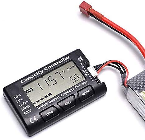 QAIYXM Comprobador De Tensión De La Batería, Probador De Capacidad De La Batería Digital (con LCD) Puede Extender La Vida De Las Baterías De Níquel E Hidruro Metálico De Iones De Litio, Aeromodelismo