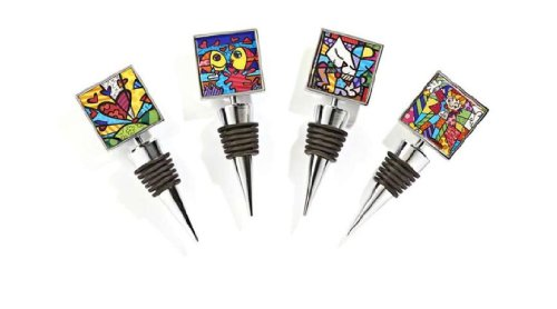 Romero Britto Double-Sided Wine Bottle Stoppers (Set of 4)