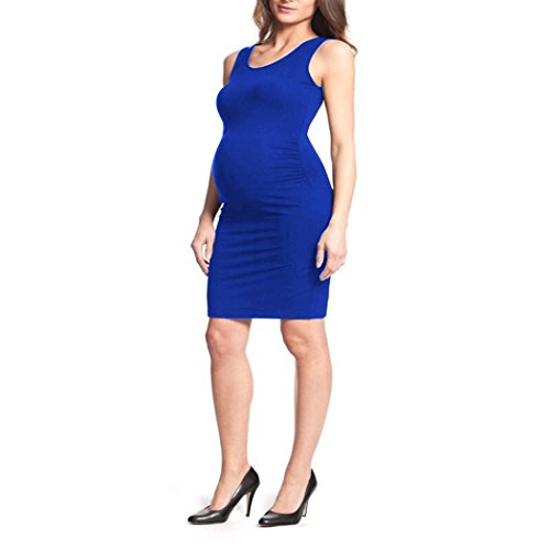 COSYOU Maternity Casual Dresses for Pregnant Women Vest Maternity Dress Elegant Maternity Pregnancy Clothing (XL, Blue 7)