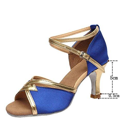 gold shoes Seasons shoes indoor dance shoes 5cm dance Latin Dance Four blue Blue gold 5cm soft shoes soles Women's indoor dance WXMDDN qTwXgZfw