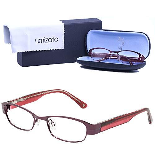 UMIZATO Prescription Glasses Frames Eyeglasses For Women - Cat Eye, Stainless Steel, Acetate Optical Rx (BURSA in Plum)