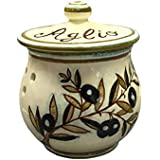 CERAMICHE D'ARTE PARRINI- Italian Ceramic Garlic Brings Jar Holder Hand Painted Made in ITALY Decorated Olives Country Tuscan Art Pottery