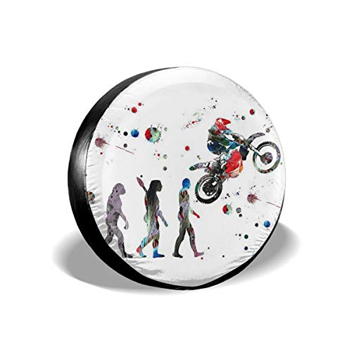 JustForU Spare Tire Covers Dirt Bike Watercolor Evolution of The Rider Motocross Waterproof Polyester Wheel Protectors Universal for Jeep Trailer RV SUV Truck Camper (14,15,16,17 Inch) (Pick Up The Cross And Follow Me)