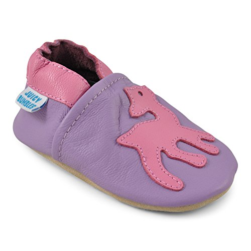 Beautiful Shoes for Baby Girls - Crib Shoes with Suede Soles - Pink Deer - 0-6 Months ()