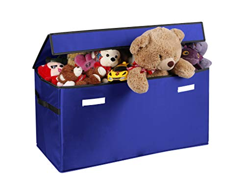 Prorighty Collapsible Toy Chest for Kids (XX-Large) Storage Basket w/Flip-Top Lid | Toys Organizer Bin for Bedrooms, Closets, Child Nursery | Store Stuffed Animals, Games, Clothes (Blue)