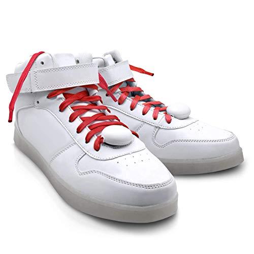 LED Nylon Shoe Laces Luminous Flashing Modes EDM Party Dancing Shoelaces for Boys Girls (Red)]()