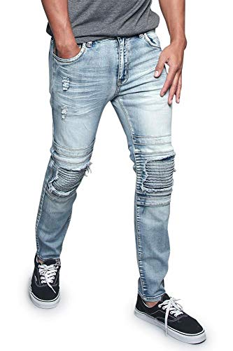 - Victorious Men's Distressed Layered Sectioned Ribbed Knee Biker Jeans DL1179 - Indigo - 34/34 - II7D