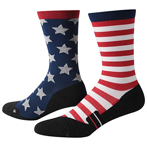 Sock Fashion Stripe - Flag Socks, HUSO Unisex Fitness Novelty Soft Socks USA American Flag Freedom Independence Patriotic Socks for Hiking 1 Pair
