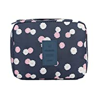AdaAda Practical Travel Makeup Bag Women Waterproof Cosmetic Makeup Bag Navy Flower