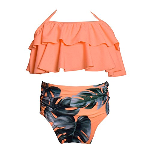 Happy Cherry Baby Girls' Two Piece Swimwear Cute Polka Dot High Waisted Bikini Swim Suit for 4-5T Girls - Orange ()