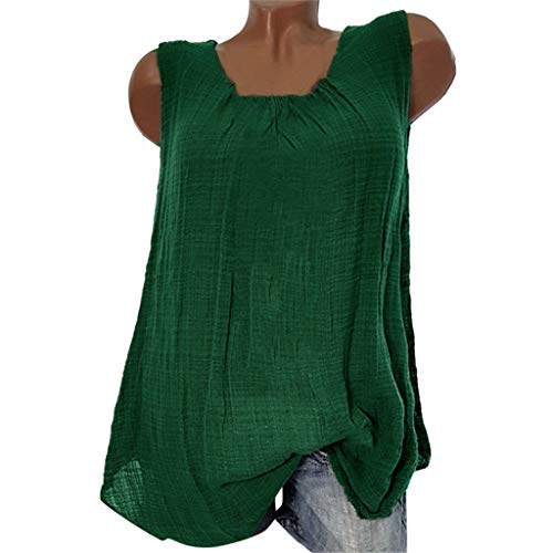 Women's Plus Size Cotton Linen Sleeveless T-shirts, AmyDong Baggy Vest Tee Blouse Tank Tops