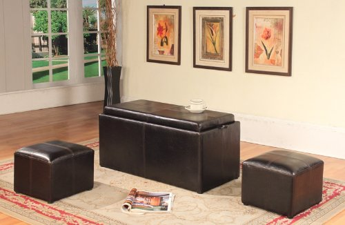 Roundhill Furniture Espresso Bonded Leather Storage Coffee T