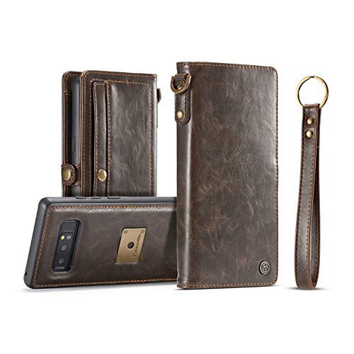 Galaxy Note 8 Case,AKHVRS Handmade Retro Galaxy Note 8 Genuine Leather Wallet Case with Luxury Cover Magnetic Detachable Case & Hidden Card Slot for Samsung Galaxy Note 8 - Brown