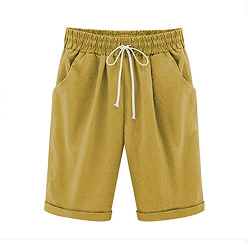Women's Casual Elastic Waist Knee-Length Curling Bermuda Shorts Ginger Yellow Tag 5XL-US 14 by Gooket (Image #1)