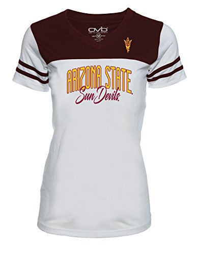 Ncaa Arizona State Sun Devils Womens Jrs Football T Shirt  White Maroon  Small