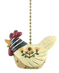 Country Chicken Hen Ceiling Fan Pull or Light Pull Chain