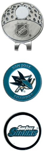 NHL San Jose Sharks Cap Clip With 2 Golf Ball Markers (Shark Golf Clothing)