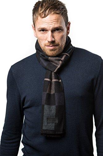 Marino's Winter Cashmere Feel Men Scarf,100% Cotton Fashion Scarves, In Elegant Gift Box - Black Gray and Blue (Merino Scarf)