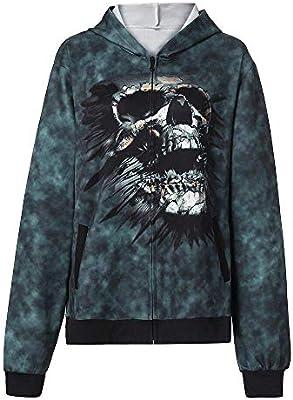 Bellecita Ropa Exquisita Sudaderas Unisex, Halloween Scray Skeleton Print Hooed Pullover Sweatshirt Jumper (Color : Green, tamaño : XXX-Large)