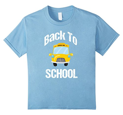 unisex-child Cute Back to School T Shirt | School Bus Cartoon 8 Baby Blue