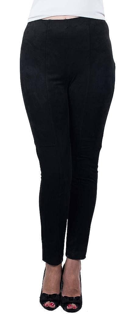 Joseph Ribkoff Black Faux Suede Ankle Length Pants Style 164447