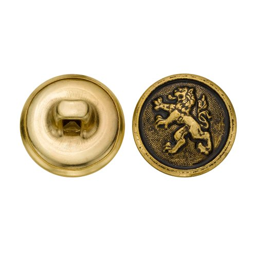 C&C Metal Products 5280 Chinese Lion Metal Button, Size 24 Ligne, Antique Gold, 72-Pack by C&C Metal Products Corp