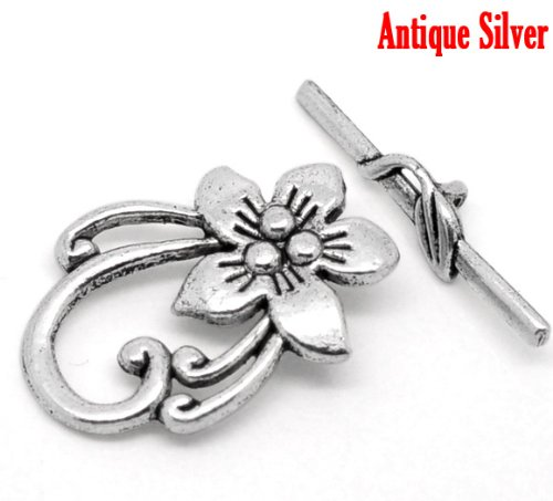 10 Sets Silver Tone Bracelet Clasps Lily Flower Toggle - Findings, DIY Crafts, Jewelry Making