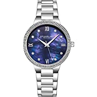 Stuhrling Original Womens Watch - Pave Crystal Bezel - Mother of Pearl Dial with Crystal Accents, 3907 Watches for Women Collection (Blue)