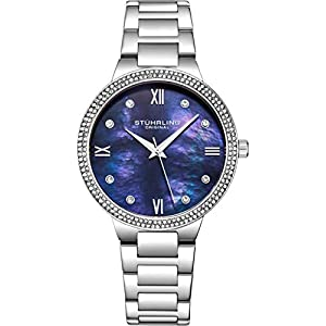 Stuhrling Original Womens Watch – Pave Crystal Bezel – Mother of Pearl Dial with Crystal Accents, 3907 Watches for Women Collection