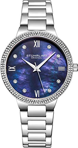 - Stuhrling Original Womens Watch - Pave Crystal Bezel - Mother of Pearl Dial with Crystal Accents, 3907 Watches for Women Collection (Blue)