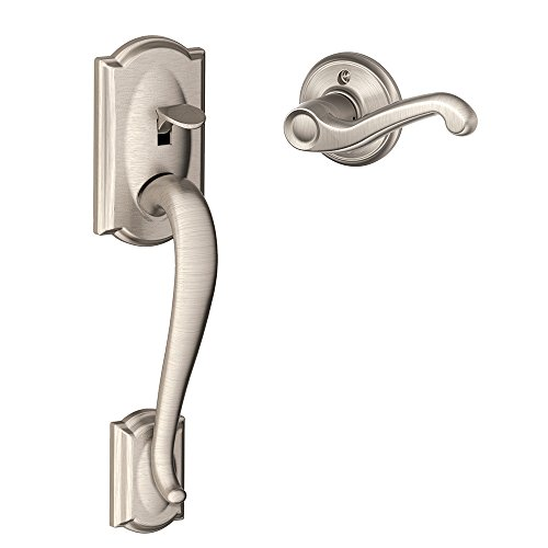 Exterior Front Door Trim (Schlage FE285 CAM 619 FLA LH Camelot Trim Lower Half Front Entry Handleset with Flair Left Hand Lever, Satin Nickel)