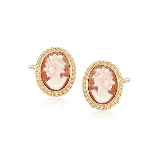 Ross-Simons Oval Shell Cameo Earrings in 14kt Yellow Gold
