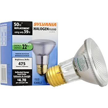 SYLVANIA Capsylite Halogen Dimmable Lamp / PAR20 Flood Light Reflector /  50W Replacement / Medium Base