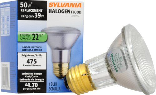 SYLVANIA Capsylite Halogen Dimmable Lamp / PAR20 Flood Light Reflector / 50W replacement / Medium base E26 / 39 Watt / 2850 K – warm white