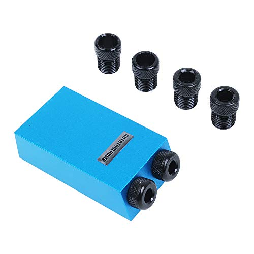 (AUTOTOOLHOME Woodworking Mini Pocket Hole Jig Kit 6/8/10mm Step Drill Guide Sleeve Pilot Angle 15 Degree Holes Wood Joinery Tools)