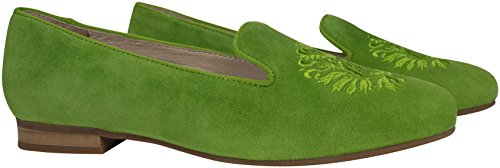 Size Suede Embroidered 4 Emblem On Green Embellished Slip Loafer Alessia Peridot Leather Slipper Green Goat Shoe Trotteur With 8FxEqnawTR